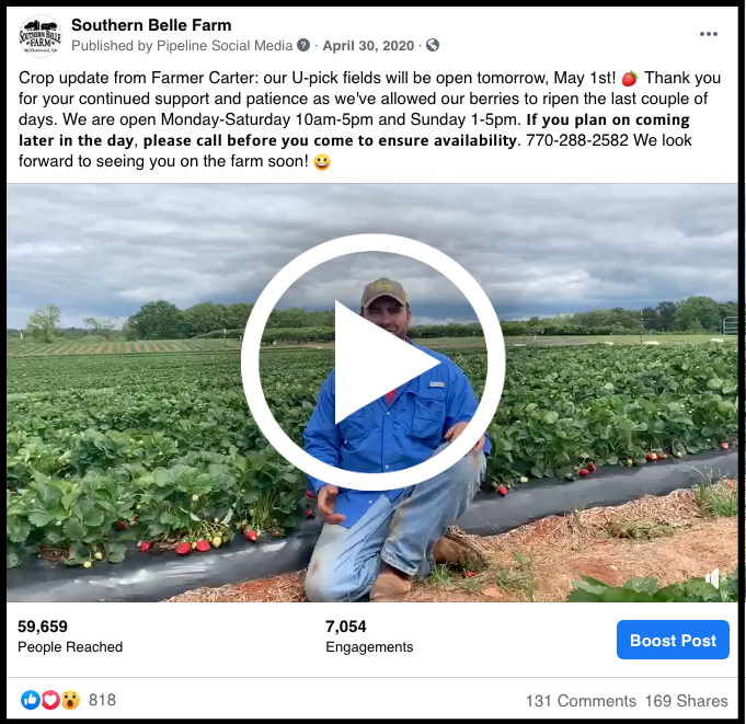 social media post featuring Southern Belle Farm crop update video