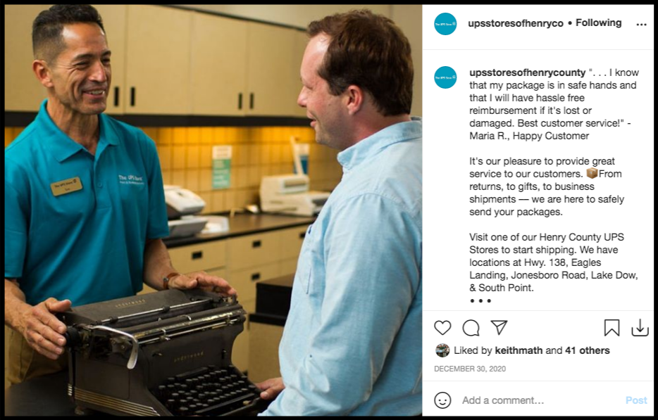 UPS employee helping a customer social media post