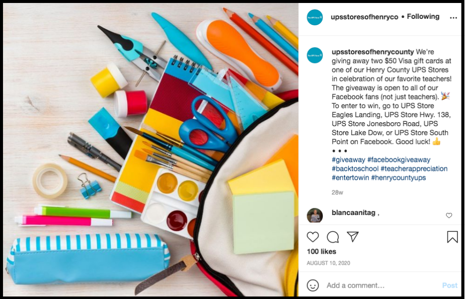social media post with a backpack with office supplies