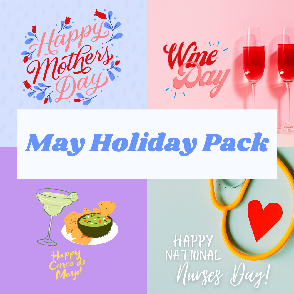a grid of social media graphics for holidays in may