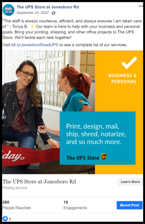 A UPS employee helping a customer with a banner social media post