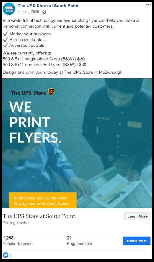 A UPS employee and customer making copies social media post