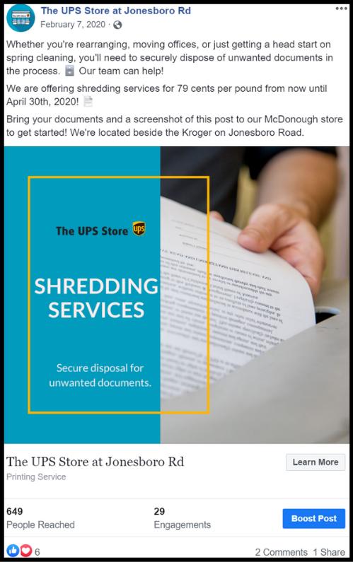 A UPS customer shredding papers social media post