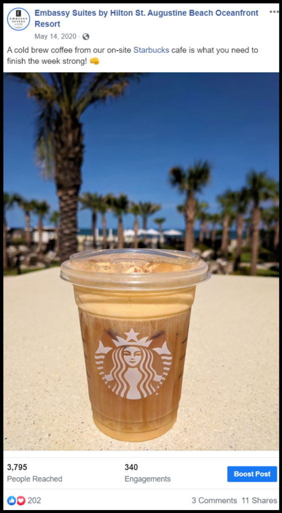 social media post showing Starbucks coffee at the beach