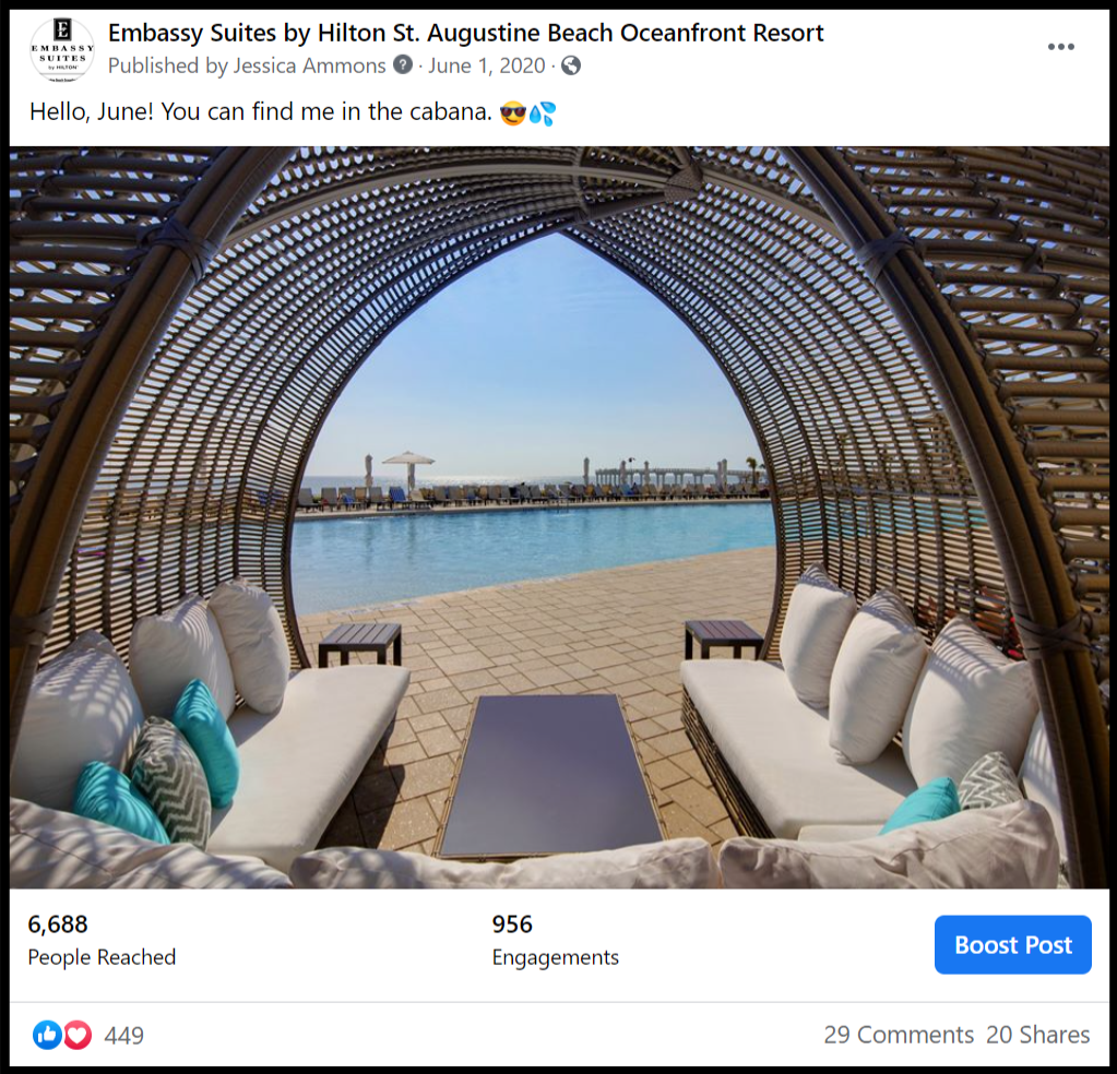 social media post showing a view from inside a pool cabana