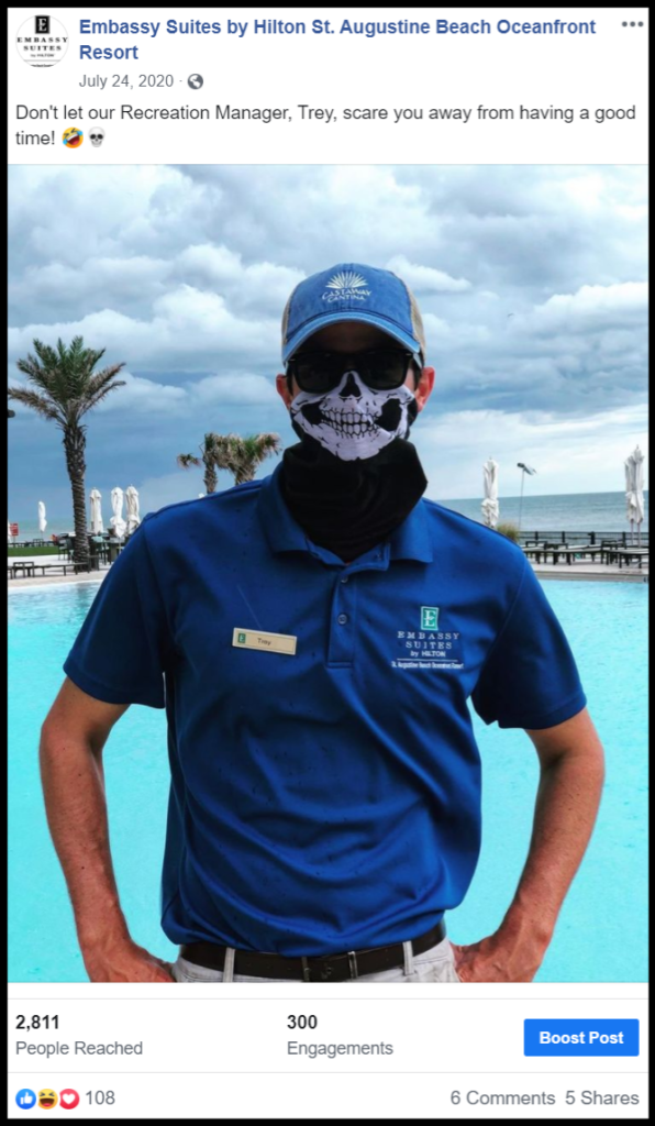 social media post showing a hotel employee in front of pool