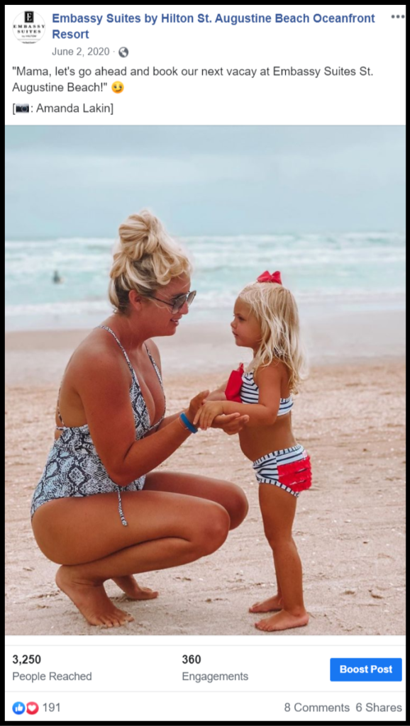 social media post about a mother and daughter enjoying the beach