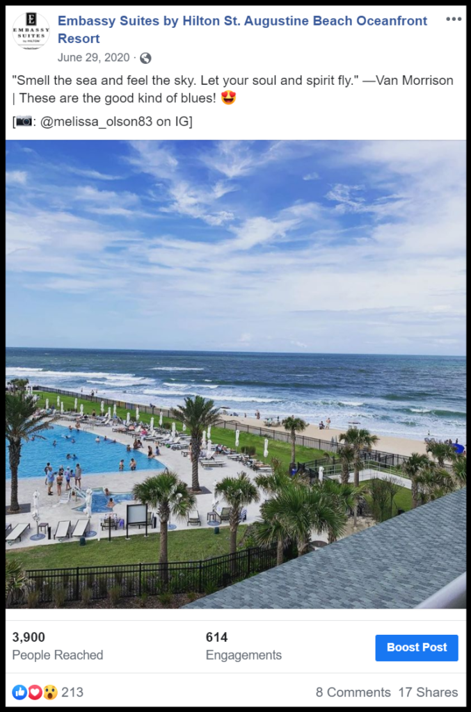 social media post of a beach and pool scene