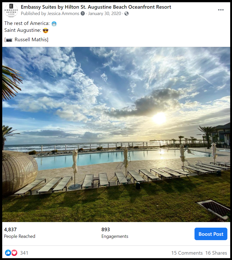 social media shot showing a hotel pool