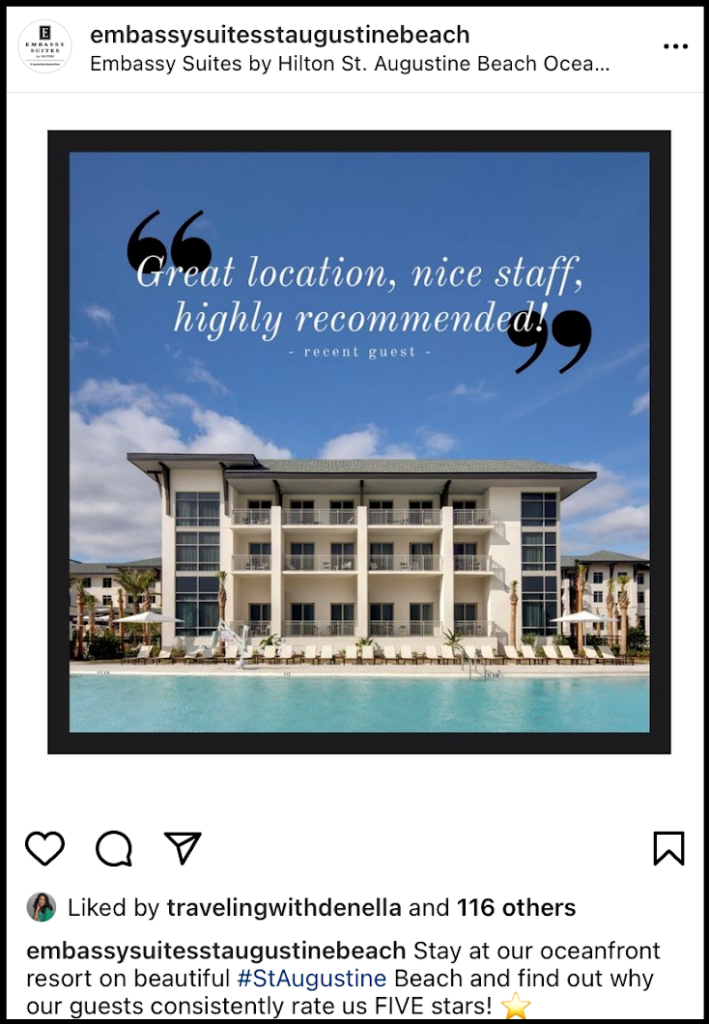 social media post showing a hotel review