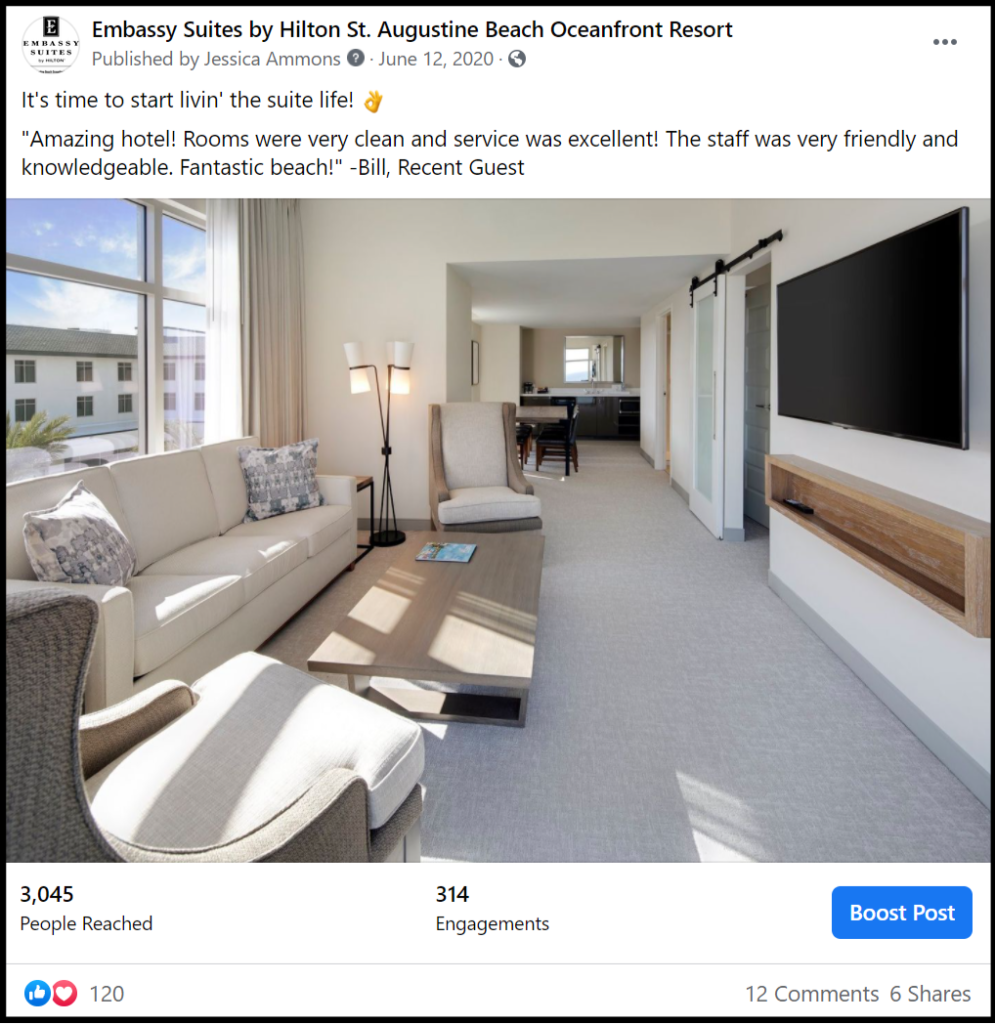 social media post featuring a hotel suite