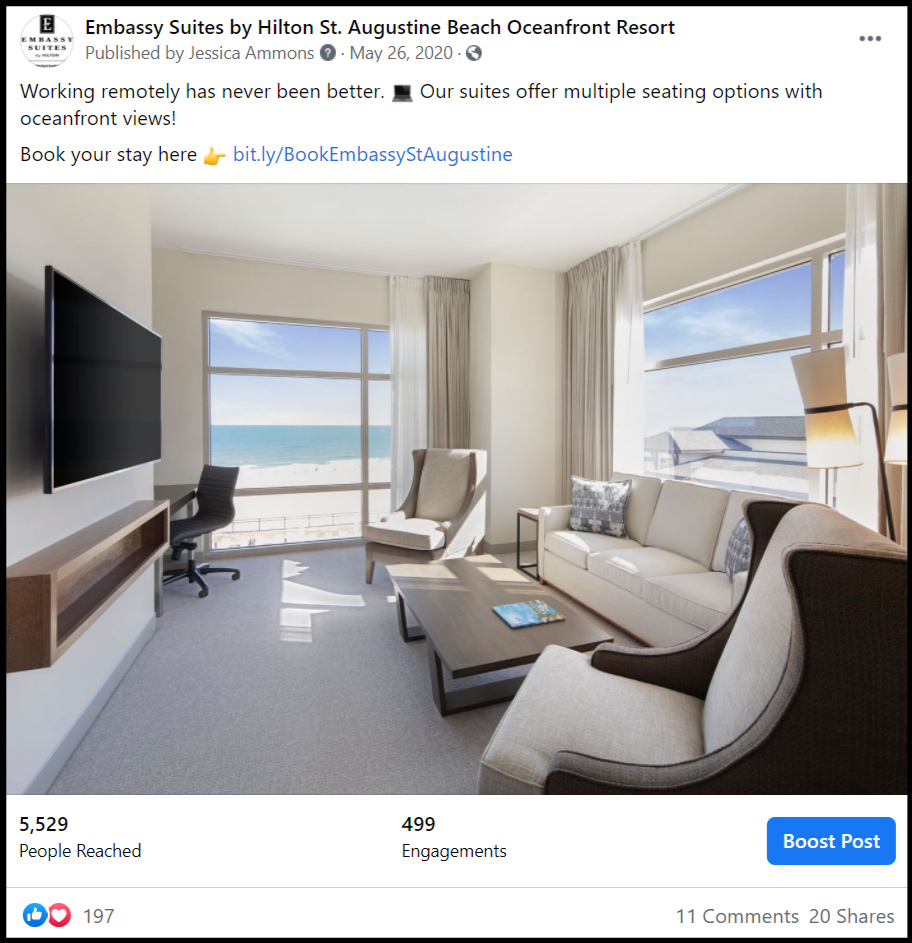 a social media post about a hotel suite
