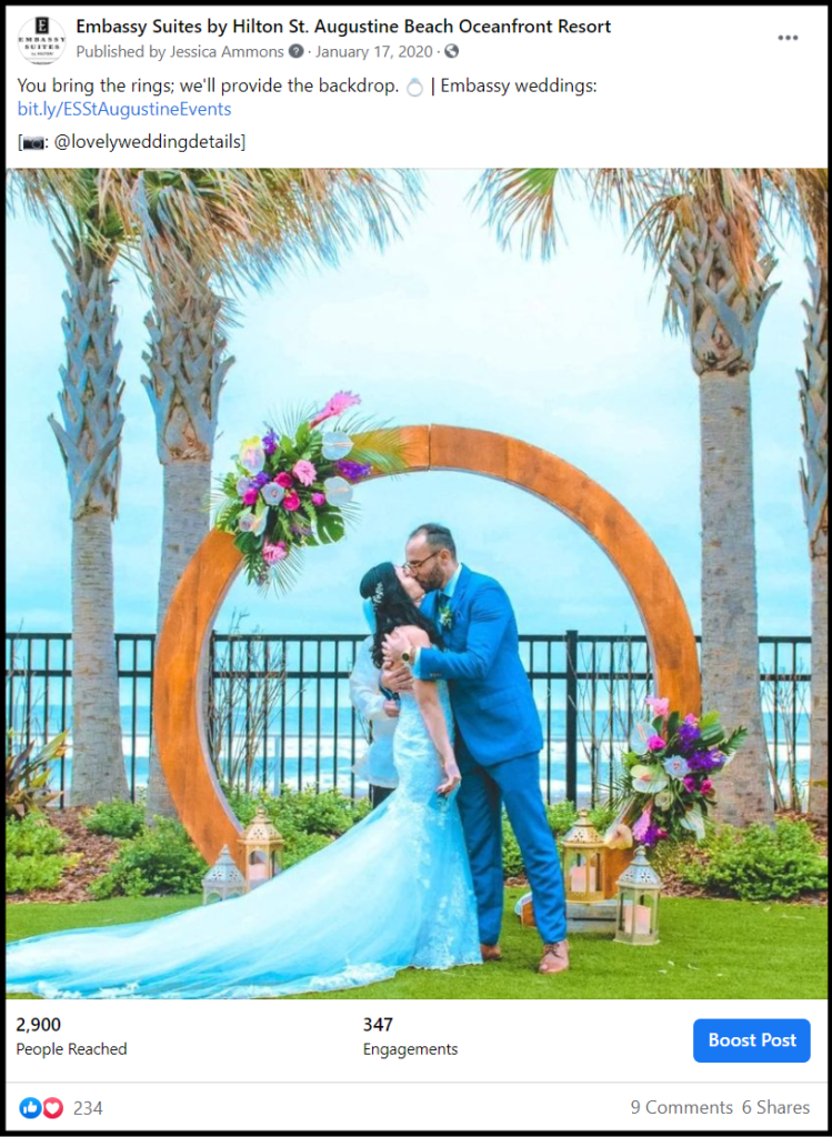 social media post showing a bride and groom at beach wedding