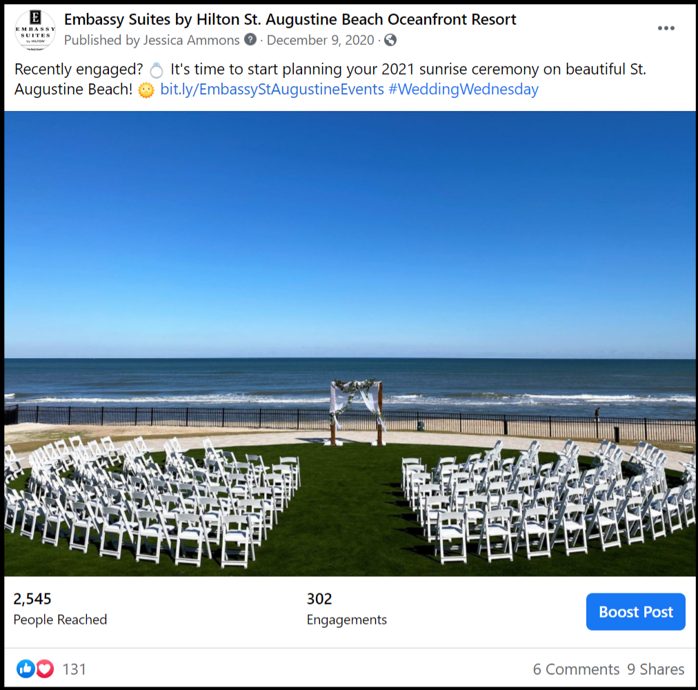 social media post showing a beach wedding ceremony venue