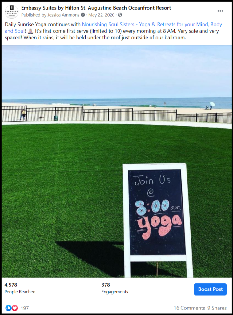 social media post showing yoga field and shoreline