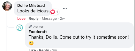 Facebook comment thread