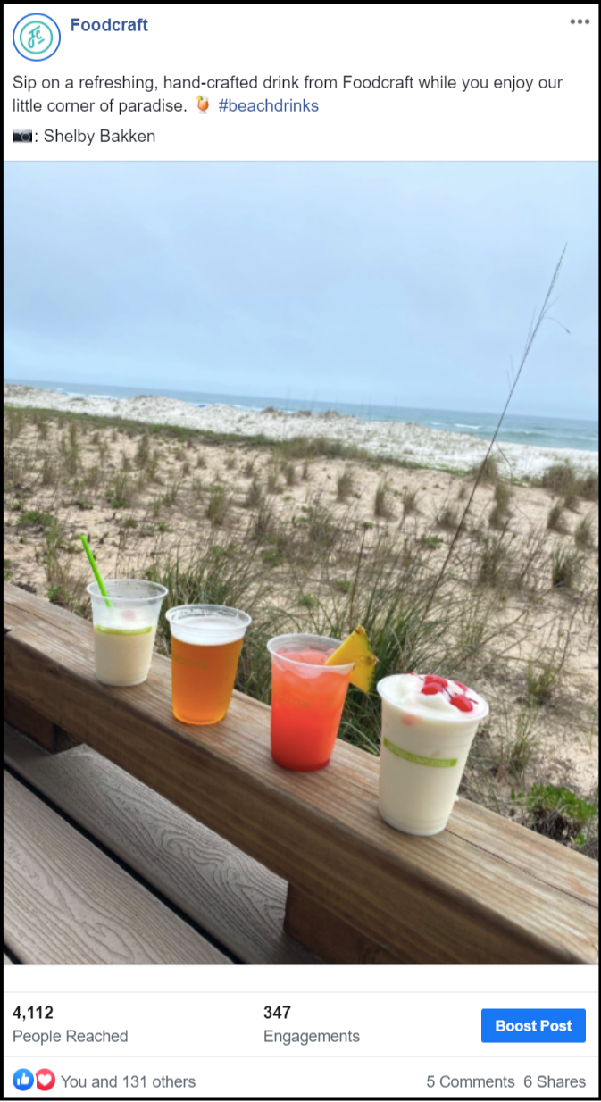 social media post showing cocktails at the beach