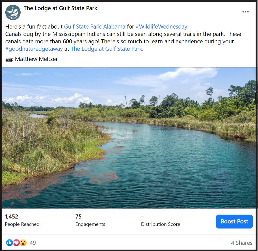 social media post of Gulf State Park