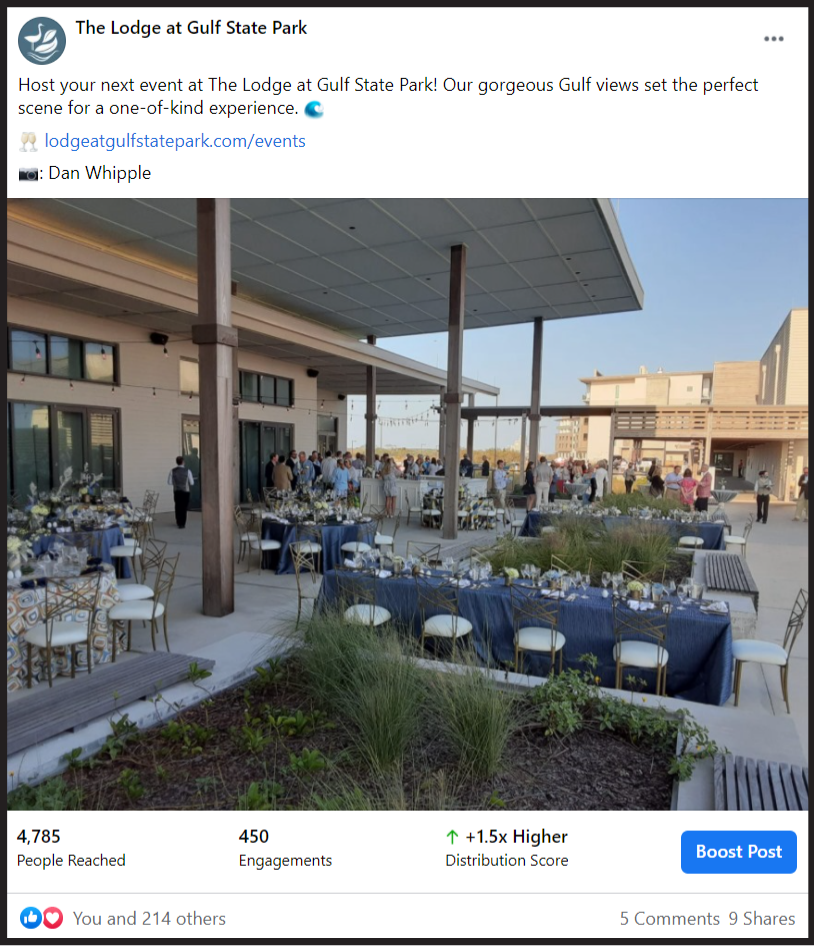 social media post showing an event space at The Lodge at Gulf State Park