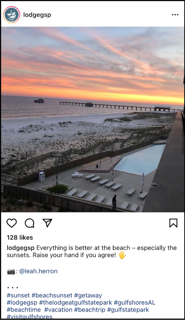 social media post showing a Gulf Coast sunset from hotel balcony