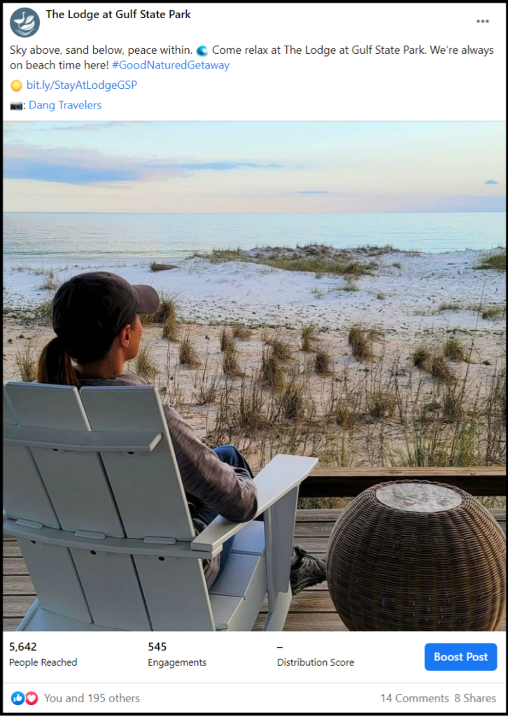 social media post showing a guest looking at Gulf Coast