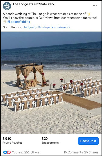 social media post showing a beach ceremony