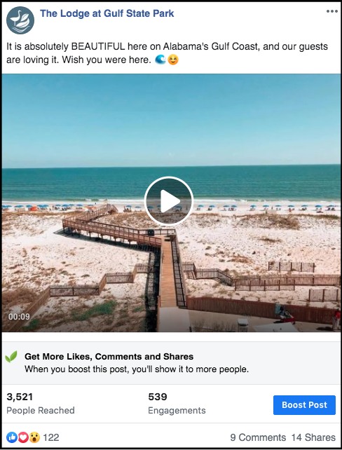 social media post showing a video of Alabama's Gulf Coast
