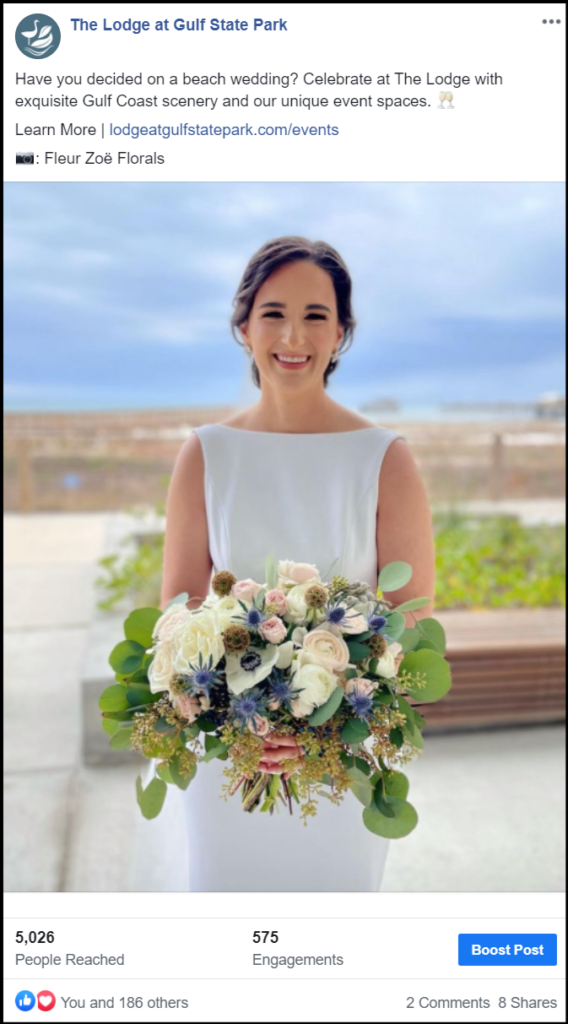 social media post showing bride with flowers
