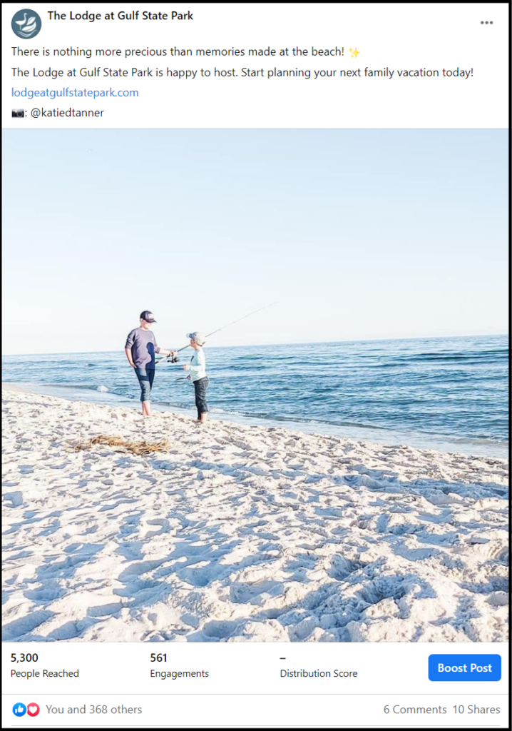 social media post showing father and child fishing at the Gulf Coast