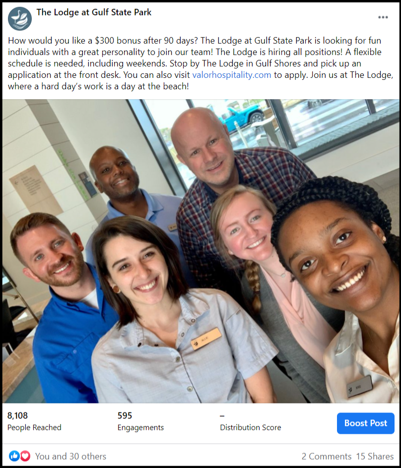 social media post showing a hotel staff smiling