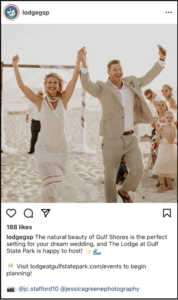 social media post showing newlyweds cheering on the beach