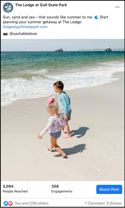 social media post showing children running on the shore