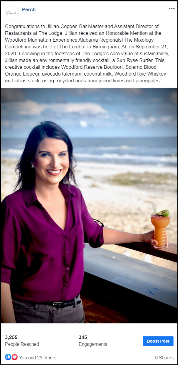 social media post of an employee smiling wiht a drink at the beach