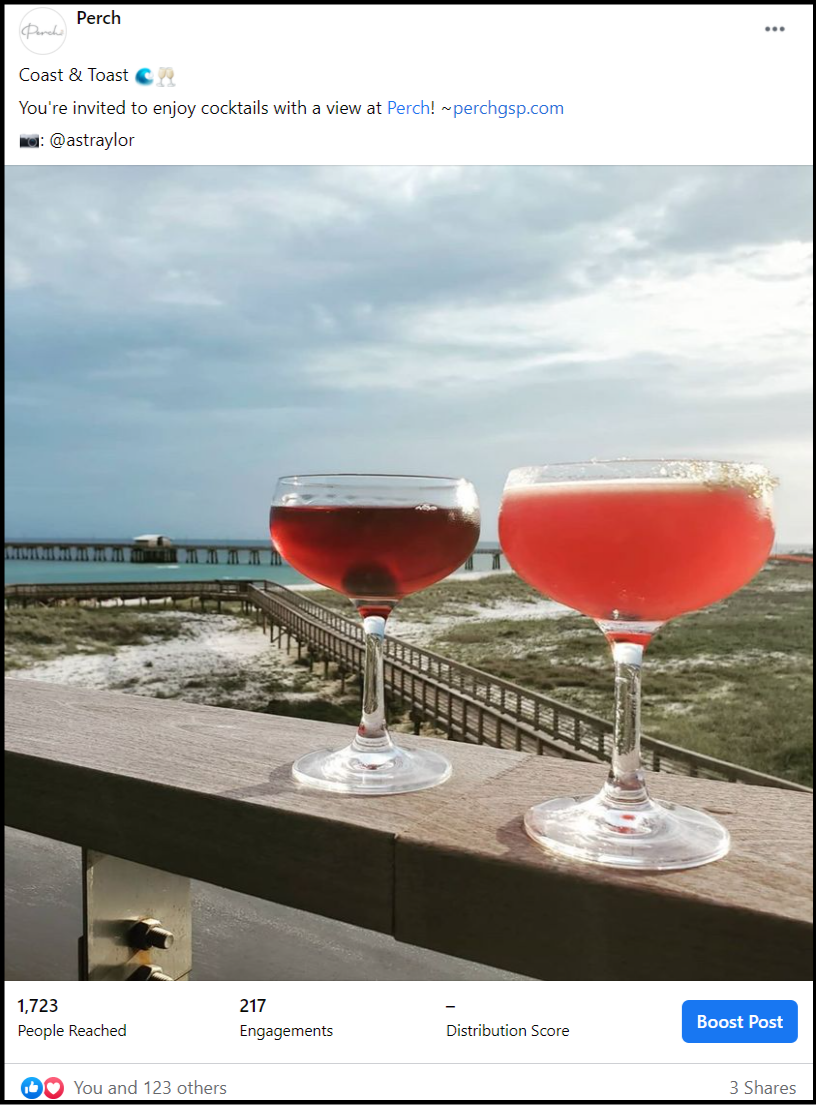 social media post of two cocktails with beach scene in background
