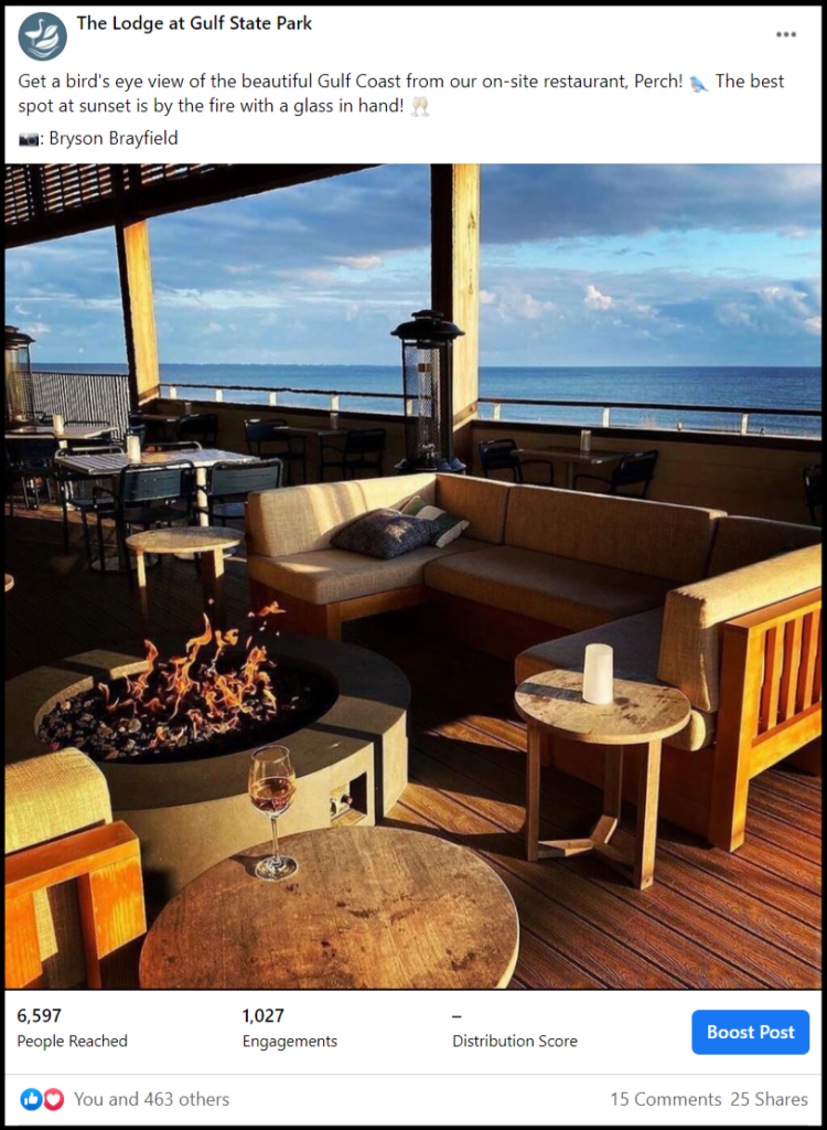 social media post of a beachside lounge