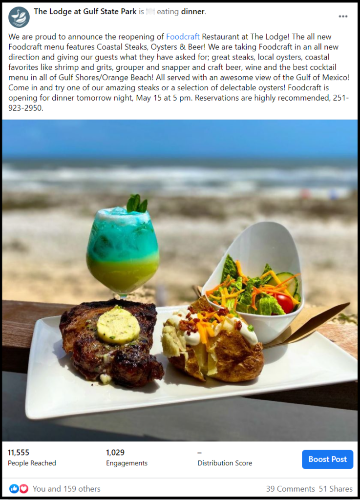 social media post of a meal at the beach
